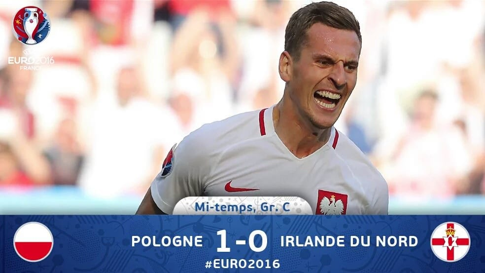 Match euro 2016 Pologne 1 - 0 Irlande groupe C