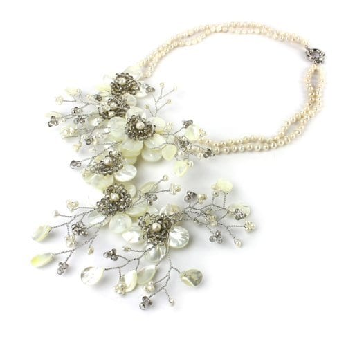 Pearl Nacre Necklace Flower Traveling Throught Rain Mother of Pearl 100% Handmade
